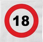 48x 18 jaar leeftijd themafeest servetten verkeersbord 33 cm rond - 18e verjaardag papieren wegwerp tafeldecoraties