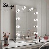 Beluga Hollywood Spiegellampen set- 10x LED lampen- 3 Lichtstanden/ Kleuren- Dimbaar- 3M sticker bevestiging- Make up spiegel verlichting- USB aansluiting