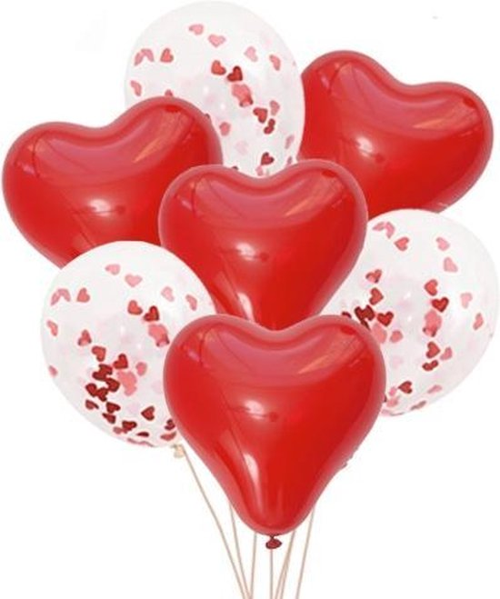 Hartjes Ballonnen - Confetti Ballonnen - 15x - Decoratie Set - Valentijn Decoratie - Valentijn Versiering - Hartjes Confetti