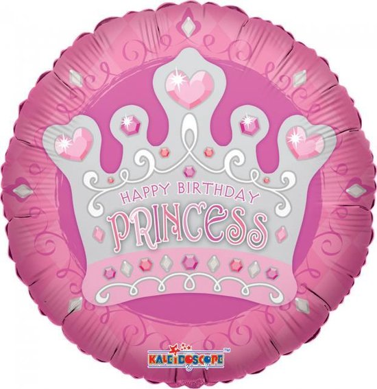Helium Ballon Happy Birthday Princess Kroon 45cm leeg