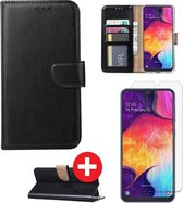 Samsung Galaxy A10 hoesje book case zwart met tempered glas screen Protector