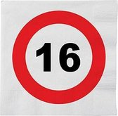 48x 16 jaar leeftijd themafeest servetten verkeersbord 33 cm rond - 16e verjaardag papieren wegwerp tafeldecoraties