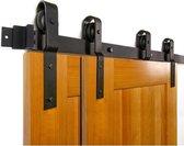 schuifdeursysteem dubbele deur - 200cm uit één stuk - Dubbel Schuifdeursysteem Kast 200 cm rail - Schuifdeurrails Schuifdeurbeslag