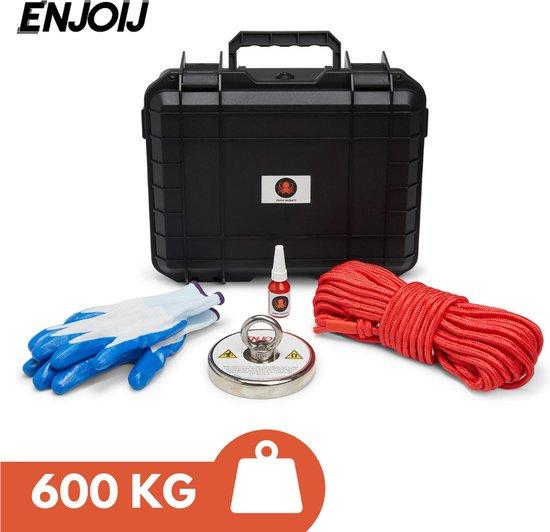Magneetvissen Enjoij 600KG Koffer - Magneetvissen Magneet - Vismagneet Met Touw - Karabijnhaak - 20m Touw - Neodymium Magneten - Handschoenen - Schroefdraadborgmiddel