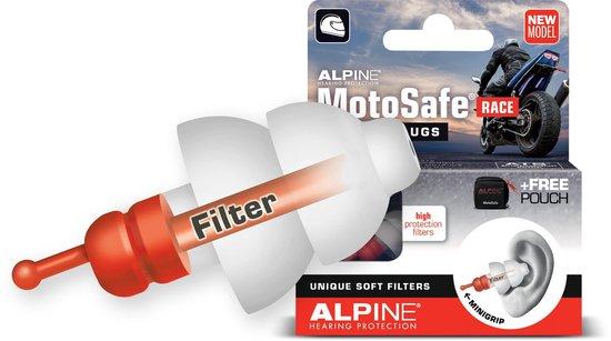 Alpine Motosafe Race - Motor oordoppen - Gehoorbescherming Race - Wit - 1 set - Alpine Hearing protection