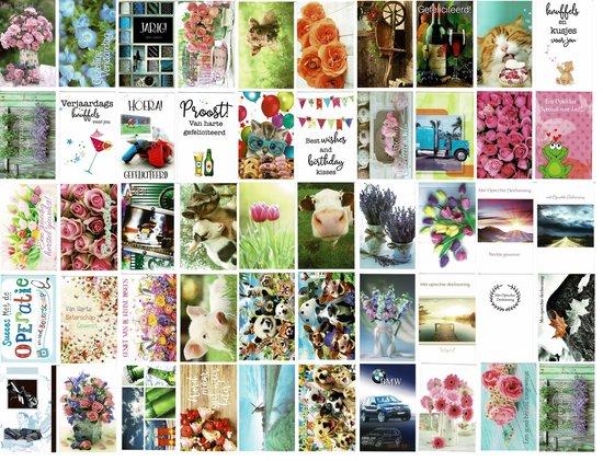 50 Luxe wenskaarten - Assortie Blanco / Beterschap / Felicitatie / Condoleance - 12x17cm - Gevouwen kaarten met enveloppen