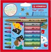 STABILO Trio Deco Metallic Viltstiften - Etui 8 Kleuren