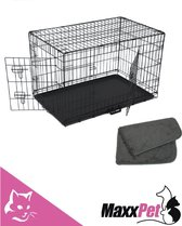 MaxxPet Hondenbench met Plaid - Zwart - 122 x 76 x 84 cm