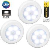 Prodica - 3x Draadloos LED Nachtlampje met Bewegingssensor - Koud Wit - Inclusief batterijen - Verlichting Tot 3 Meter Bereik - Kastverlichting