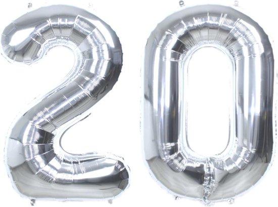 Folie Ballon Cijfer 20 Jaar Zilver 86Cm Verjaardag Folieballon Met Rietje