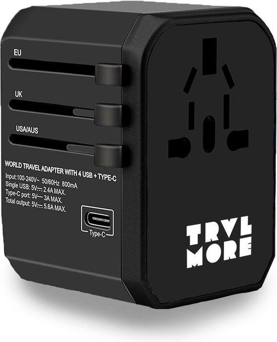 TravelMore Universele Wereldstekker met USB-C en 4 USB Poorten - 2000 Watt Internationale Reisstekker voor 150+ landen - Amerika (USA) - Engeland (UK) - Australië - Azië - Zuid Amerika - Afrika – Reis Adapter en Oplader – Zwart