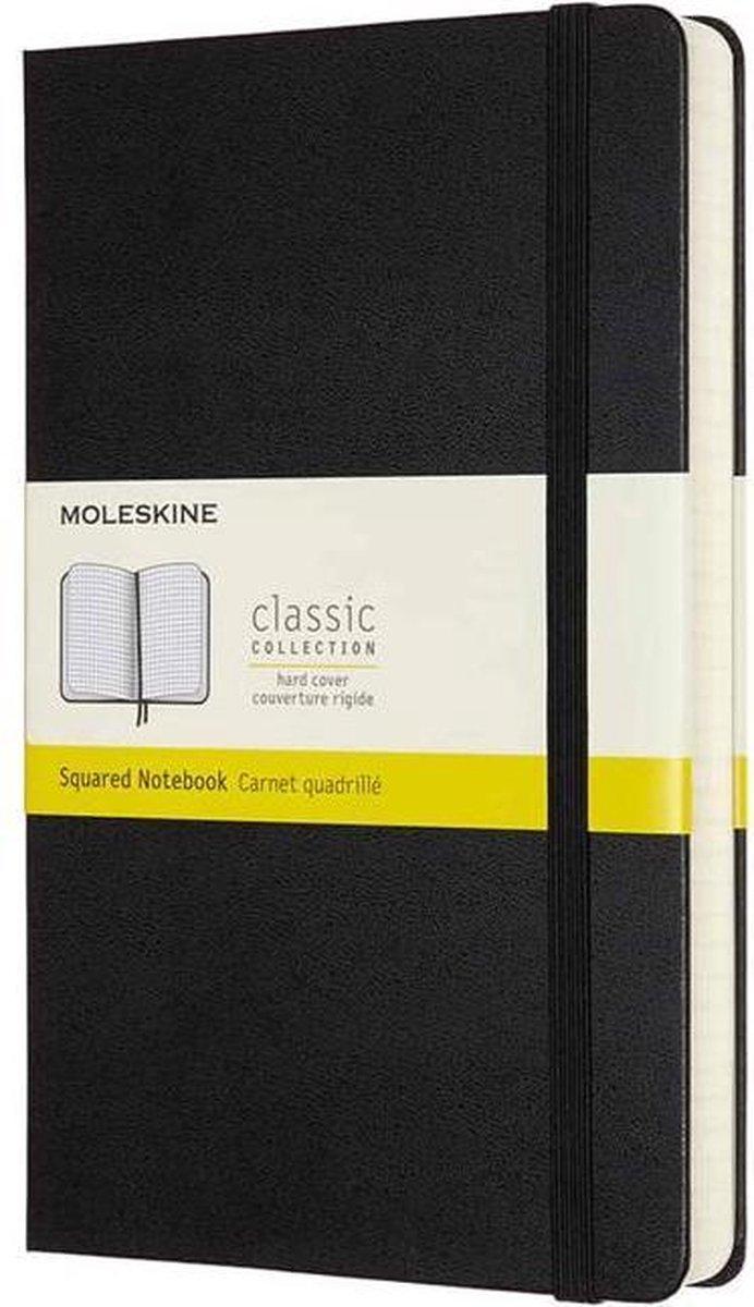 Moleskine Notitieboek-met extra pagina's-Large-Ruiten-Zwart-Harde Kaft