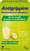 Antigrippine Paracetamol en Vitamine C, Poeder voor Drank - 10 Sachets