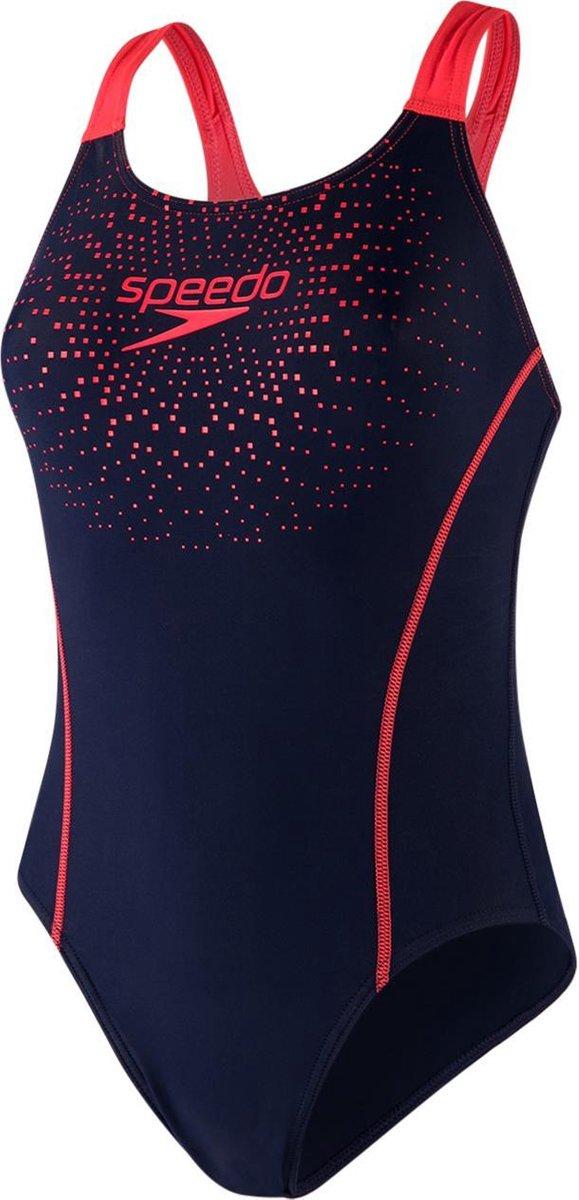 Speedo Gala Logo Medalist Badpak Dames  - Blauw/Rood  - Maat 38