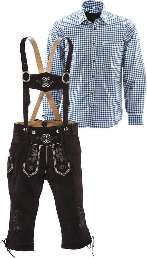 Lederhosen set | Top Kwaliteit | Lederhosen set C (bruine broek + blauw overhemd), S, 56