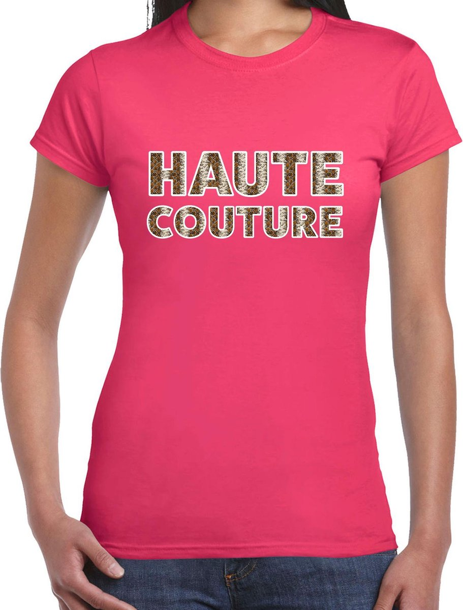 Fashion Chick slangen print tekst t-shirt roze dames 2XL