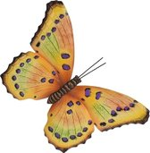 Tuin/schutting decoratie geel/paarse vlinder 44 cm - Tuin/schutting/schuur versiering/docoratie - Metalen vlinders