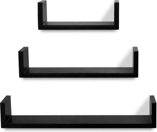 vidaXL Wandplanken U-vormig zwevend voor boeken/dvd's zwart 3 st