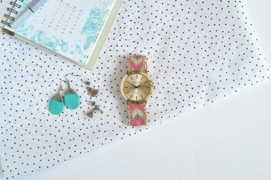 Goudkleurig Ibiza Horloge - Rozé   Gevlochten Bandje