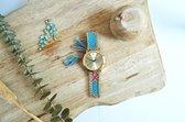Goudkleurig Ibiza Horloge - Blue   Gevlochten Bandje