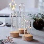 Bella Knirke - Sirius - Set van 3 glass domes met houten onderkant