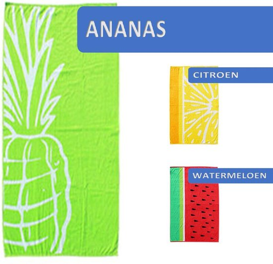 Seashell Luxe Strandlaken – Zachte Velour handdoek – L – 90 X 170 cm  - Ananas