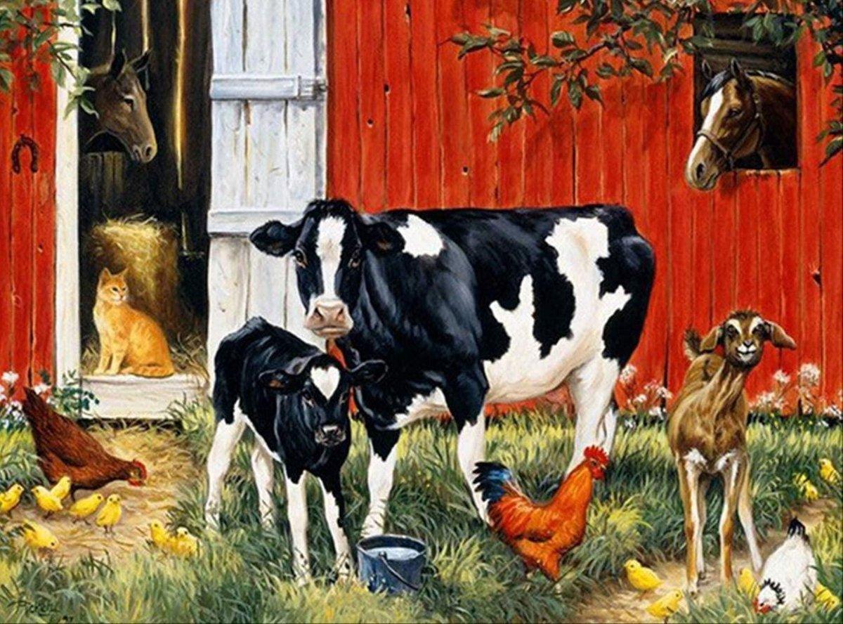 Schilderen op nummer pakket Koeien & kippen op boerderij - 40 x 50 cm