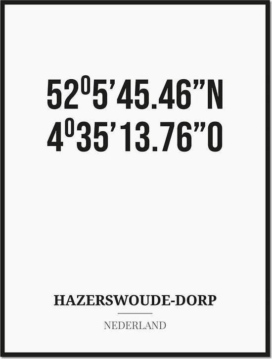 Poster/kaart HAZERSWOUDE-DORP met coördinaten