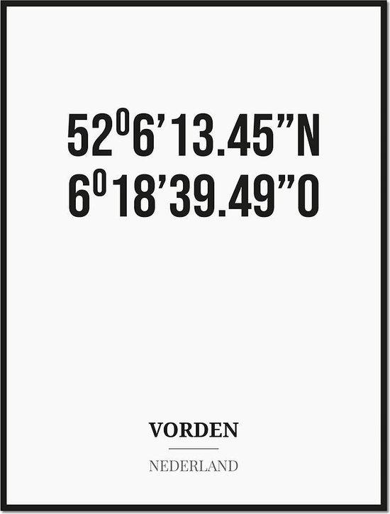 Poster/kaart VORDEN met coördinaten