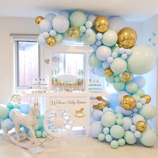 Ballonnenboog - DIY - Mintgroen - Lichtblauw - Goud - Verjaardag Versiering - Bruiloft - 124 Ballonnen - Feest Versiering - 5 meter - Babyshower - 1 Jaar - GRATIS POMP en OPHANGHAAKJES