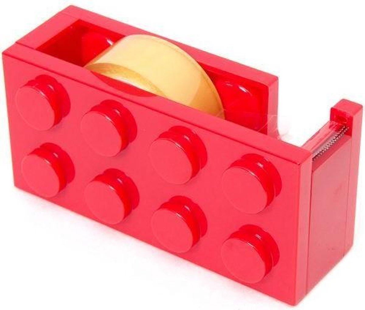 Lego blok plakband dispenser ROOD bekend van lego - set - blokjes - bouwen - figuur - kinderkamer + plakband rol - technic - city - friends - star wars - creator - ninjago - classic - harry potter lego blokje
