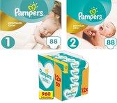 Pampers Premium Care Luiers Maat 1 & 2 + Pamper Sensitive Billendoekjes 12 x 80 Stuks - Startpakket