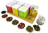 Dutch Tea Maestro - Theeplank - Thee cadeau - Eiken plateau met 7 soorten thee & RVS lepel & RVS zeef - origineel cadeau