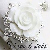 Servetringen Roos Wit – ca. 4,5 x 5 x 5 cm  - Set 6 stuks