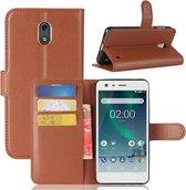 Let op type!! Voor Nokia 2 Litchi textuur horizontale Flip lederen draagtas met houder & kaartsleuven & portemonnee (zwart)