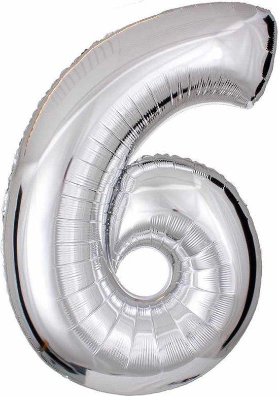 DW4Trading® Cijfer ballon 6 zilver 40cm