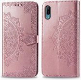 Voor Huawei Y6 Pro (2019) Halverwege Mandala-reliëfpatroon Horizontale flip lederen tas met houder en kaartsleuven & portemonnee en draagkoord (rose goud)