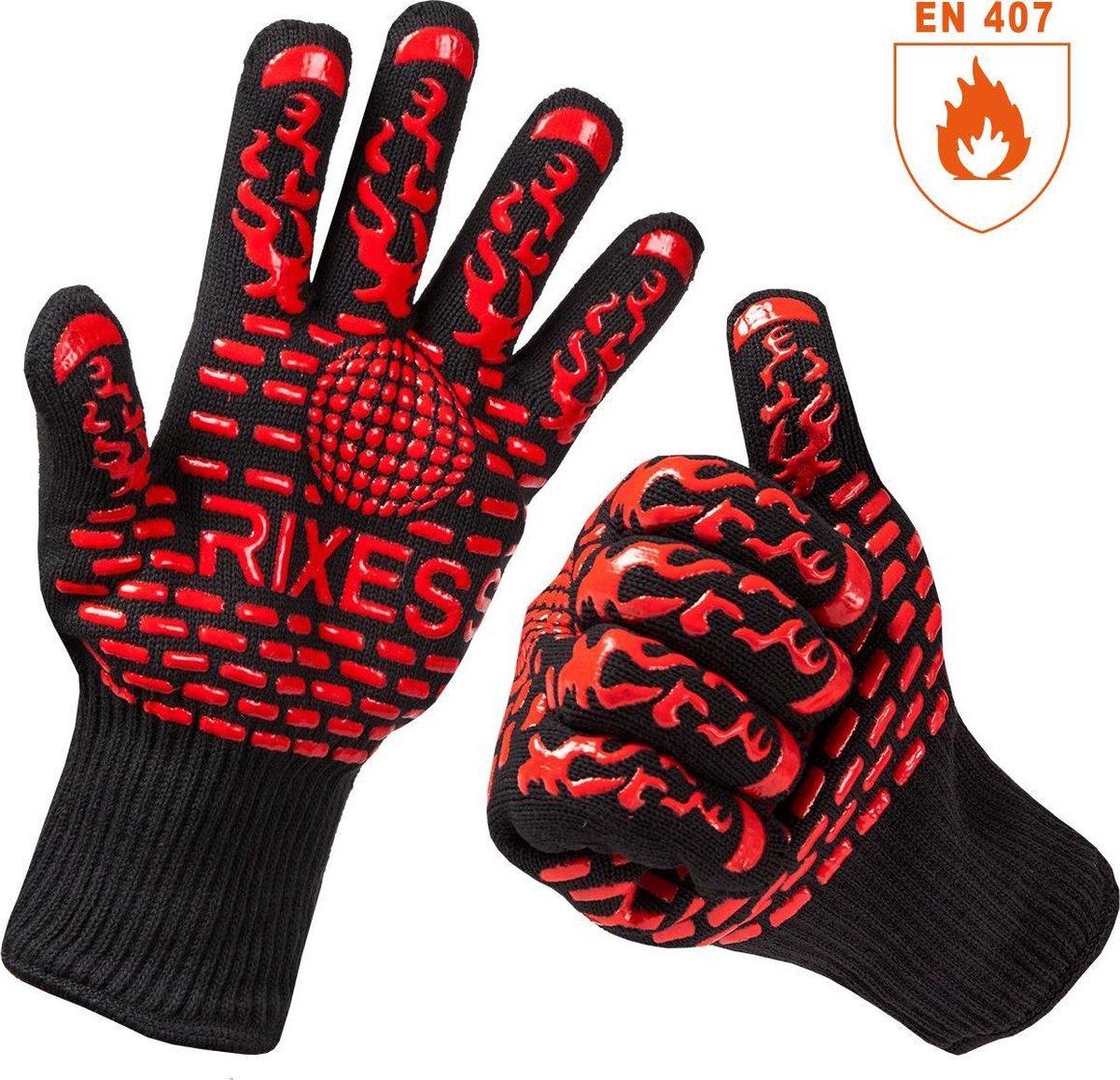 2x Premium RIXESS Hittebestendige BBQ & Oven handschoen - EN 407 CERTIFICAAT - Extra groot voor bete