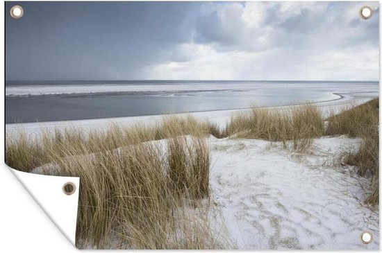 Duinen met strandgras voor de Noordzee tuinposter 180x120 cm - Tuindoek / Buitencanvas / Schilderijen voor buiten (tuin decoratie) XXL / Groot formaat! / Zee en Strand