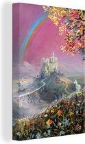 Een illustratie van een regenboog op een roze achtergrond canvas 20x30 cm - klein - Foto print op Canvas schilderij (Wanddecoratie woonkamer / slaapkamer) / Natuurverschijnsels Canvas Schilderijen