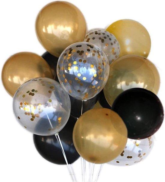 a sunny day ballonnen voor verjaardag of bruiloft - 30 stuks - goud - zwart - glitter/confetti - geschikt voor helium