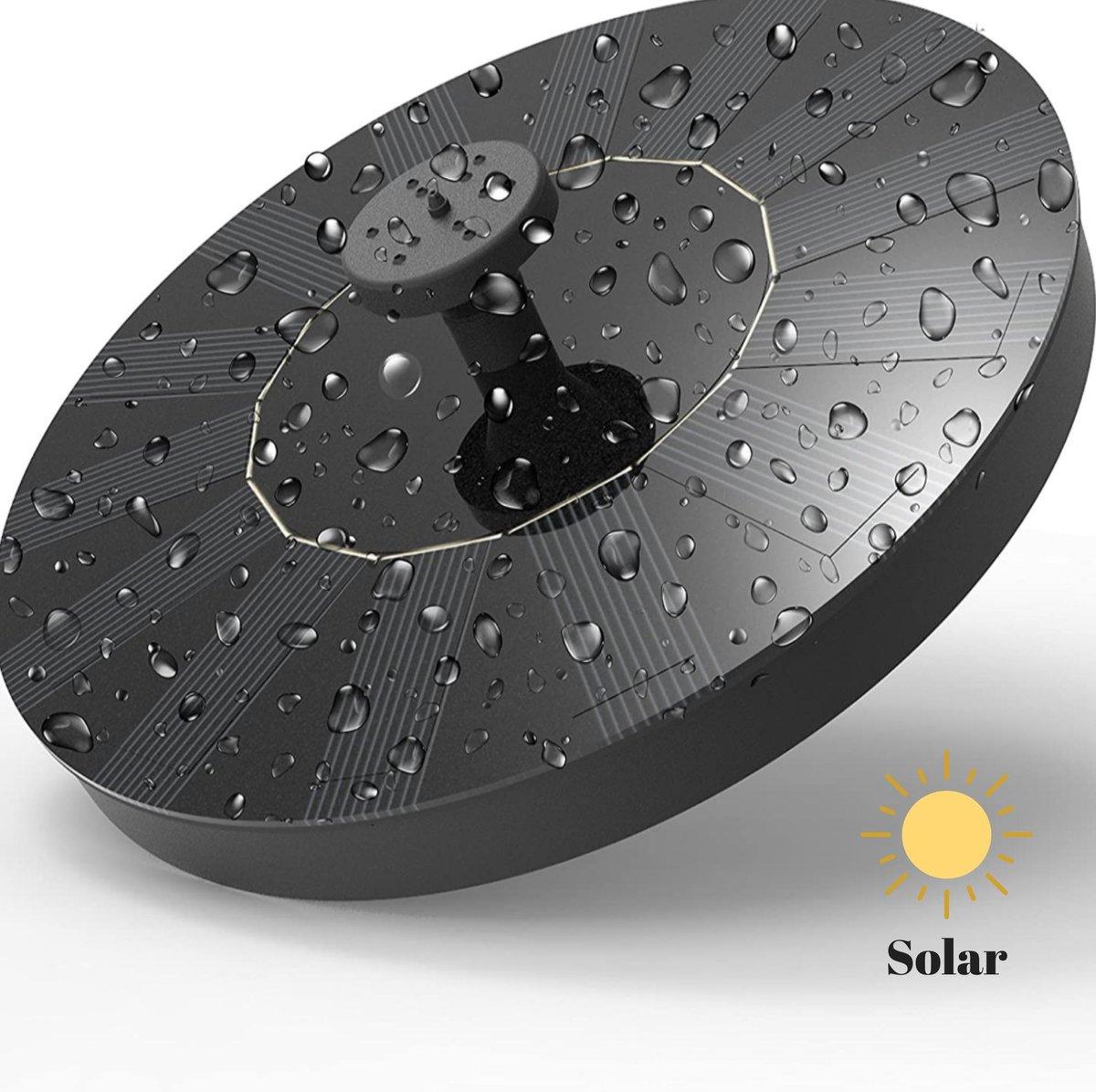 Solar Fontein - met een diameter van ca 13 cm   werkt op Zonne-energie - voor in de tuin of op  balk