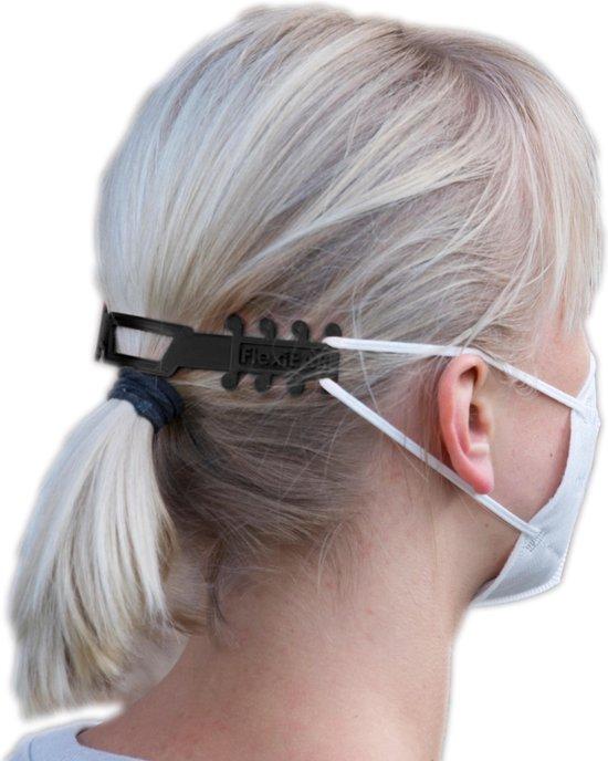 FlexiEar® zwart | Mondkapjes houder | Voorkomt irritatie en pijn