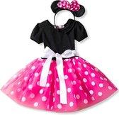 Minnie Mouse jurk roze witte stip meisjes prinsessen jurk maat 98-104 (110) + haarband verkleedkleding