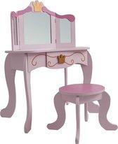 Kaptafel make up tafel Prinses meisje - opmaaktafel met spiegel en krukje - roze