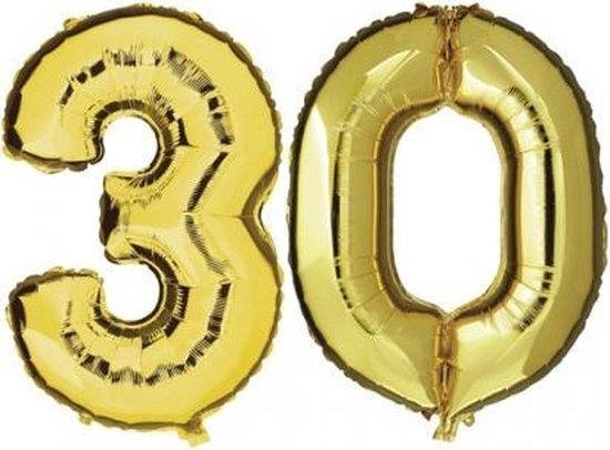 Folie ballon goud XL cijfer 30  is + - 1 meter  groot  inclusief een flamingo sleutelhanger