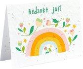 Bloeikaart Bedankt juf! - Wenskaart bedankje voor juf - kaart met bloemenzaadjes en envelop