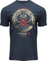 Fox OriginalsVintage Rock T-shirt Amsterdam Heren & Dames Katoen Blue Dusk Blauw Maat XL