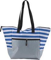 Strandtas Blauw wit gestreept grote tas met rits aan bovenzijde en vak met rits aan voorzijde, zand en spatwater dicht, modieus naar het strand!