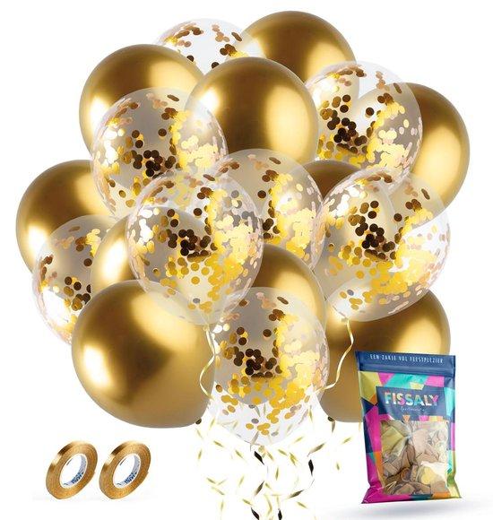 Fissaly® 40 stuks Gouden & Confetti Goud Helium Ballonnen met Lint – Decoratie – Confetti – Latex